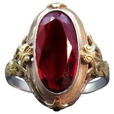 Smart Art Deco 14K Gold and Garnet Ring