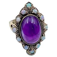 14 Karat Gold, Amethyst & Opal Navette Ring