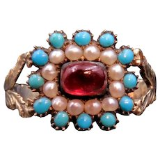 Garnet Turquoise and Pearl 14k Georgian Conversion Inscribed Ring