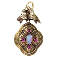 Opal and Ruby 18k Gold Pendant
