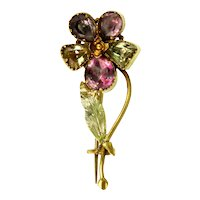 Foiled Amethyst and Chrysoberyl Pansy 15ct Gold Pin