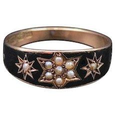 Victorian Black Enamel & Pearl Mourning Ring