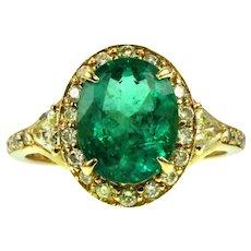Stunning 18K, 3.2 ct Brazilian Emerald & Yellow Diamond Ring