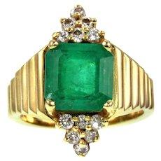 Fantastic Vintage 14k 3ct Emerald & Diamond Ring