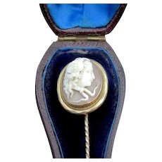 Outstanding Medusa Cameo Stick Pin 14K circa Mid 19th Century