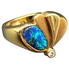 14K Black Opal & Diamond Butterfly Ring