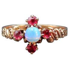 Victorian 14K Garnet & Opal Ring c. 1880s