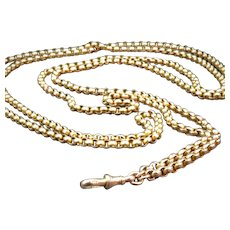 """9K Gold  58"""" Faceted Rolo Long Muff Chain"""