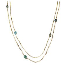 9k Gold and Turquoise Long-Guard Rolo Chain