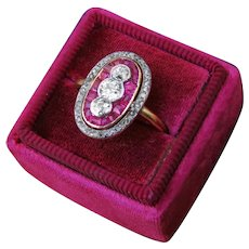 Triple Old European Diamond Ruby 18k Gold Art Deco Ring