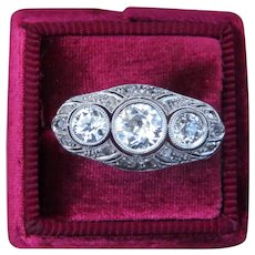 Old European Round Diamond 1.3 cttw 18k White Gold Art Deco Ring