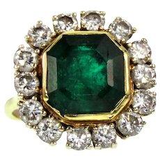Antique 18k , 3.5ct Emerald & Diamond Ring