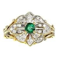 14K Gold, 18K Gold, Diamond & Emerald Conversion Ring