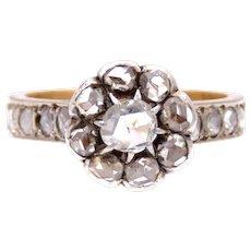 Rosecut Flower Diamond 18k Gold Ring