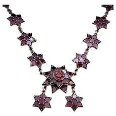 Antique Garnet Bohemian Star Necklace