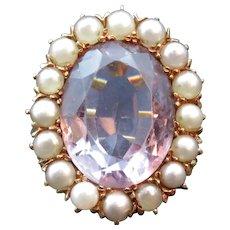 14K Gold, Rose-de-France Amethyst & Pearl Conversion Ring