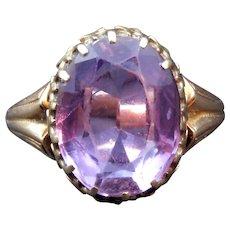 14 Karat Gold & Rose-de-France Amethyst Antique Ring