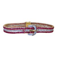 Ruby and Diamond Belt Buckle 18k Gold Bracelet with GAL Appraisal