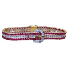 Ruby and Diamond Belt Buckle 18k Gold Bracelet with GAL Appraisal