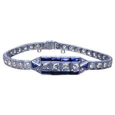 "Sapphire Diamond Art Deco Platinum Bracelet 7"" with GAL Appraisal"
