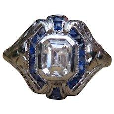 Diamond and Sapphire Platinum Openwork Ring