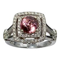 14k Padparadscha Pink Tourmaline & Diamond Ring