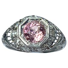Art Deco Platinum Ring with Pink Tourmaline & Diamonds
