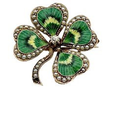 Antique 14k, Diamond, Pearl & Enamel Shamrock Brooch