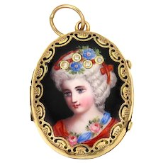 Antique Painted Portrait 15K Gold Locket Pendant