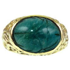Vintage Egyptian Revival Green Jade Scarab 14k Gold Ring