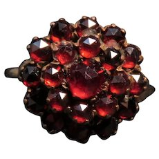 Bohemian Garnet Cluster Ring
