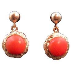 Vintage 14K & Coral Drop Earrings