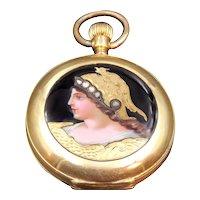 18K Gold Pocket Watch w/Diamond-Encrusted Enamel Portrait of Athena or Minerva