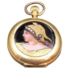 18K Gold Pocket Watch w/Diamond-Encrusted Enamel Portrait of Athena or Minerva