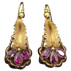 Antique 14K,18K & Almandine Garnet Earrings