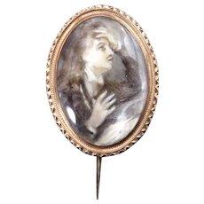 18 Karat Gold, Quartz & Sepia Anguished Gentleman Portrait Brooch