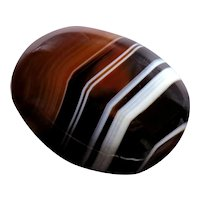 Oval Banded Agate Mourning Brooch