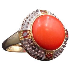 14K Coral & Ruby Stone Ring