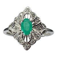 Alluring Art Deco  White 14K, Diamond & Emerald Ring