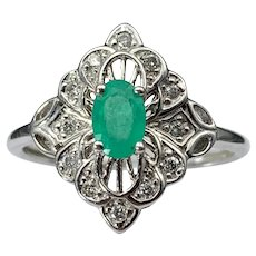 Alluring Art Deco  White 14K, Diamond & Emerald Ring
