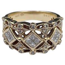 14K & Diamond Half-Band Ring with Royal Crown Pattern