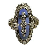 Fabulous French Art Deco 18K, Diamond & Blue Topaz Navette Ring