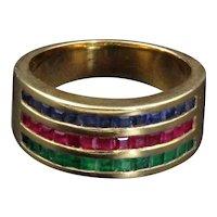 Versatile 18K Sapphire, Ruby, Emerald Half Band Ring