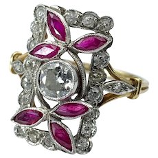 Art Deco 18K Diamond & Ruby Ring