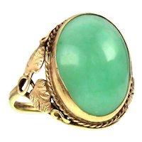 Antique Arts & Crafts 14k & Jade Ring
