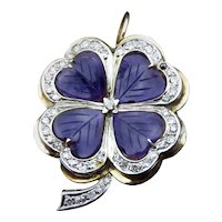 Unique 14K, Amethyst & Diamond Clover Brooch Pendant