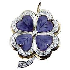 Unique 14K, Amethyst & Diamond Clover Brooch Pendant