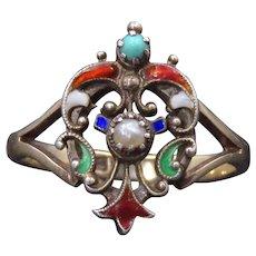 English ANTIQUE Enamel & Pearl Shield Ring