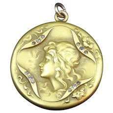 14K  Art Nouveau Gold & Diamond Locket