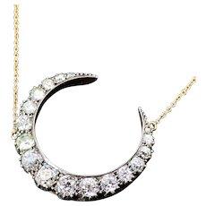 Antique 18K & Diamond Conversion Crescent Necklace